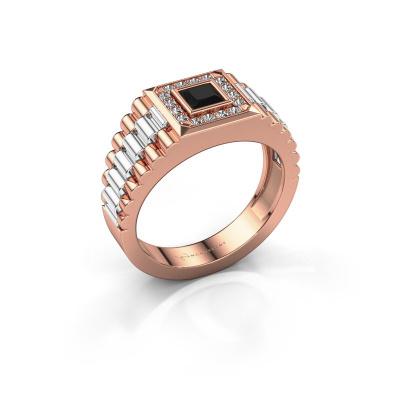 Foto van Heren ring Zilan 585 rosé goud zwarte diamant 0.672 crt