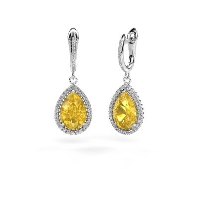 Drop earrings Hana 2 585 white gold yellow sapphire 12x8 mm