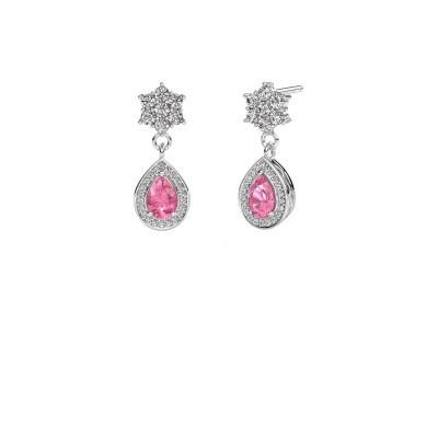 Drop earrings Era 375 white gold pink sapphire 6x4 mm