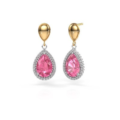 Drop earrings Cheree 1 585 white gold pink sapphire 12x8 mm