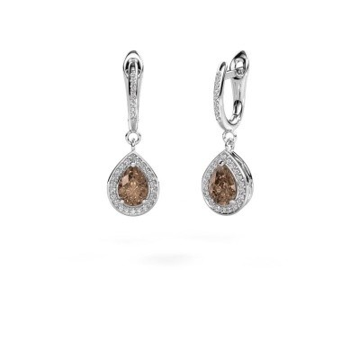 Pendants d'oreilles Ginger 2 585 or blanc diamant brun 1.455 crt