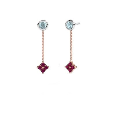 Picture of Drop earrings Ardith 585 rose gold rhodolite 2 mm