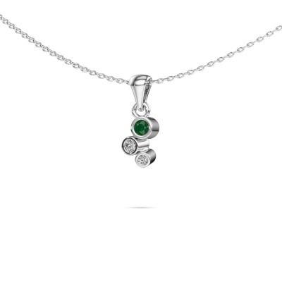 Foto van Hanger Tessa 585 witgoud smaragd 2.5 mm