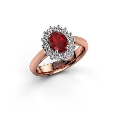 Verlovingsring Margien 1 585 rosé goud robijn 7x5 mm