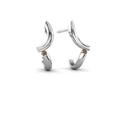 Earrings Tish 585 white gold brown diamond 0.03 crt