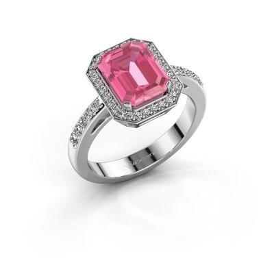 Foto van Verlovingsring Dodie 2 585 witgoud roze saffier 9x7 mm