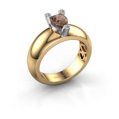 Ring Cornelia Pear 585 Gold Braun Diamant 0.65 crt