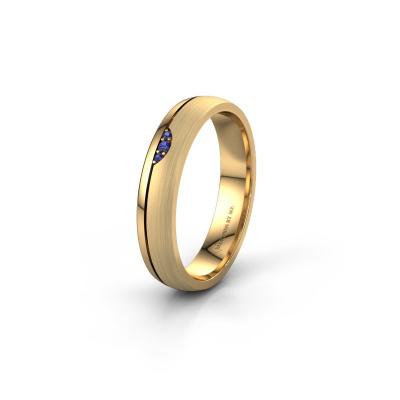 Trouwring WH0334L24X 585 goud saffier ±4x1.5 mm