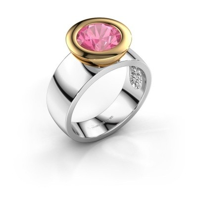Bague Maxime 585 or blanc saphir rose 8 mm