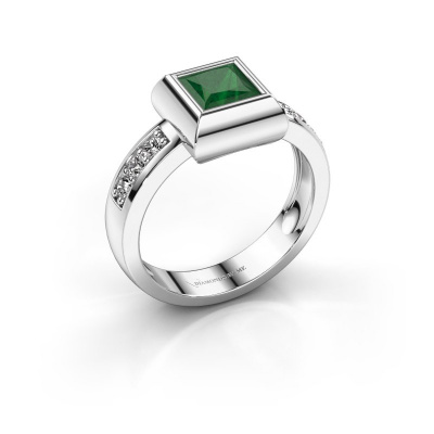 Ring Charlotte Square 925 silver emerald 5 mm