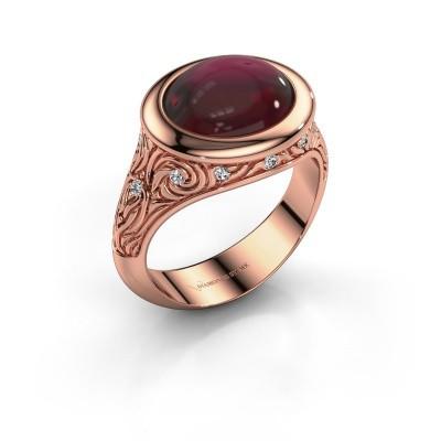 Ring Natacha 375 rosé goud granaat 12x10 mm