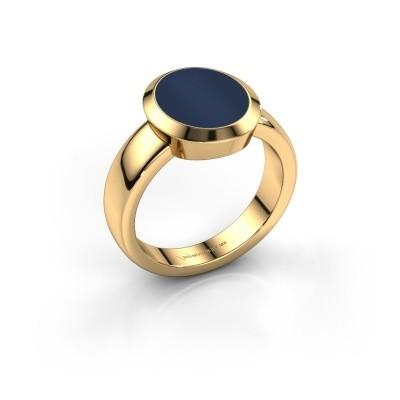 Foto van Zegelring Oscar 3 585 goud donker blauw lagensteen 12x10 mm