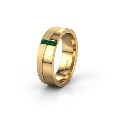 Wedding ring WH0906L16A 585 gold emerald ±0.24x0.07 in