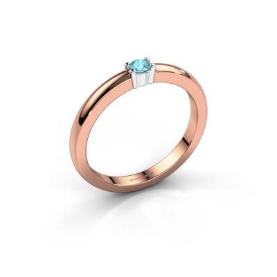 Foto van Promise ring Yasmin 1 585 rosé goud blauw topaas 2.7 mm