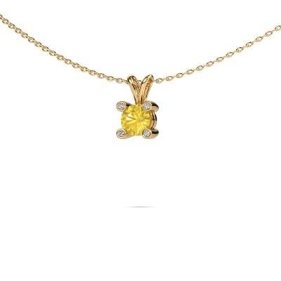 Foto van Hanger Fleur 585 goud gele saffier 5 mm