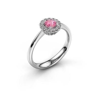 Verlovingsring Debi 950 platina roze saffier 4.2 mm
