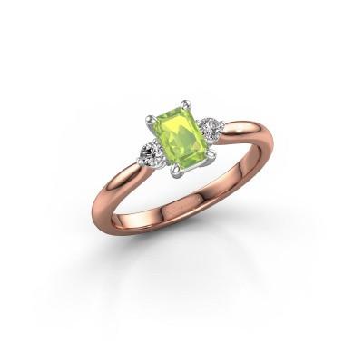 Verlovingsring Lieselot EME 585 rosé goud peridoot 6x4 mm