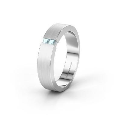 Wedding ring WH2136M15E 950 platinum aquamarine ±5x2.4 mm