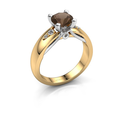 Engagement ring Ize 585 gold smokey quartz 6.5 mm