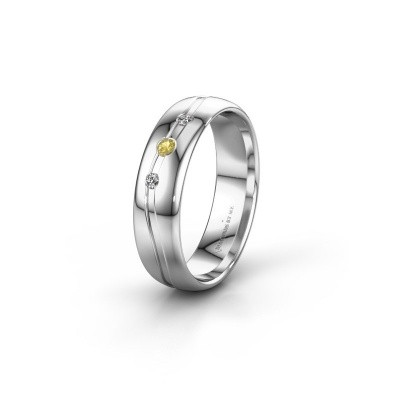 Friendship ring WH0907L35X 585 white gold yellow sapphire ±5x1.4 mm