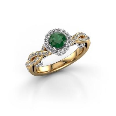 Verlovingsring Madeleine 585 goud smaragd 5 mm