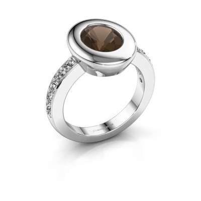 Ring Selene 2 585 white gold smokey quartz 9x7 mm
