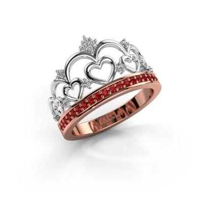 Ring Kroon 2 585 rosé goud robijn 1.2 mm