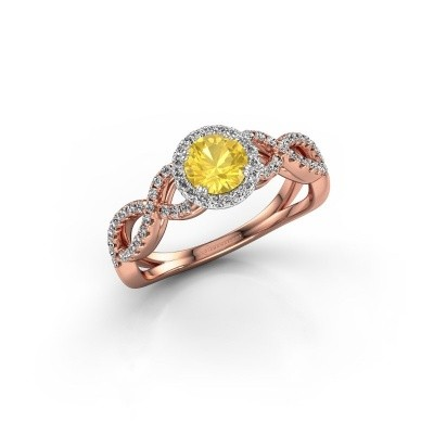 Engagement ring Dionne rnd 585 rose gold yellow sapphire 5 mm