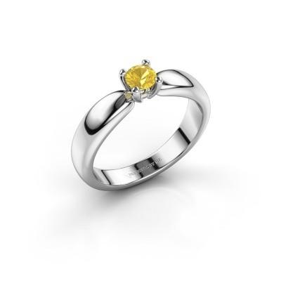 Foto van Promise ring Katrijn 950 platina gele saffier 4.2 mm