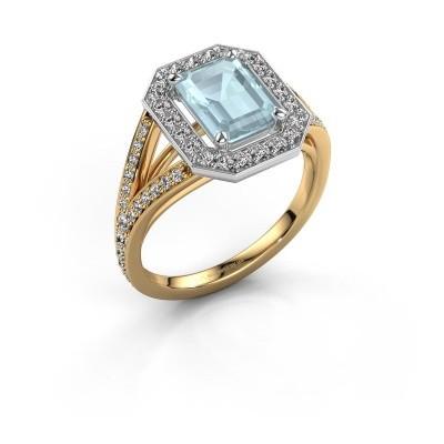 Promise ring Angelita EME 585 goud aquamarijn 8x6 mm