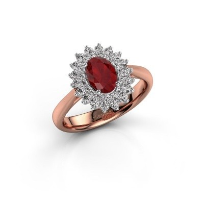 Engagement ring Alina 1 585 rose gold ruby 7x5 mm