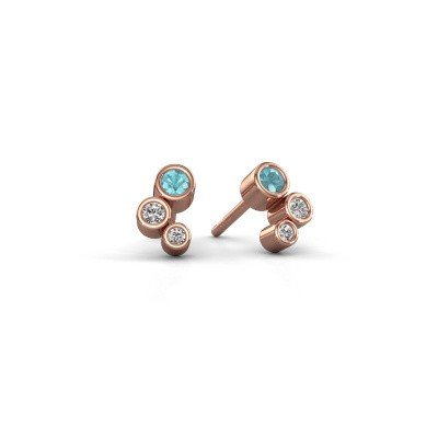 Picture of Stud earrings Marlys 375 rose gold blue topaz 2.5 mm