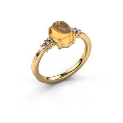 Foto van Ring Jelke 585 goud citrien 8x6 mm