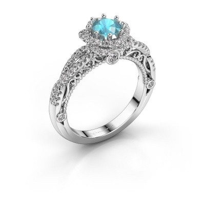 Engagement ring Lysanne 585 white gold blue topaz 5 mm