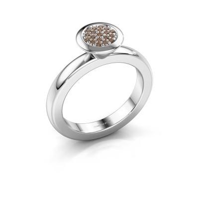 Stapelring Rani 585 witgoud bruine diamant 0.098 crt
