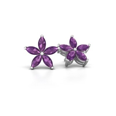 Picture of Stud earrings Sylvana 925 silver amethyst 5x2.5 mm