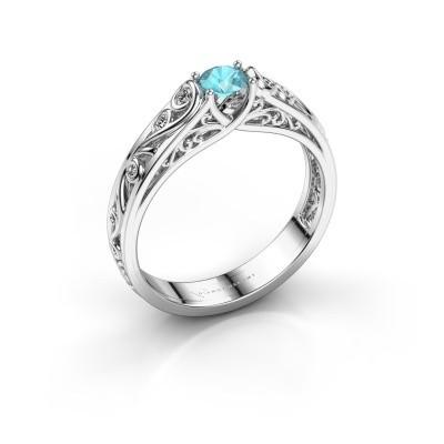 Foto van Ring Quinty 950 platina blauw topaas 4 mm