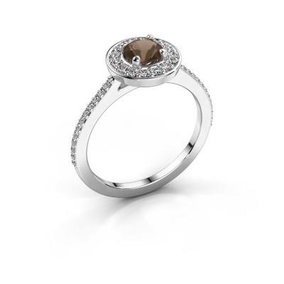 Ring Agaat 2 585 white gold smokey quartz 5 mm