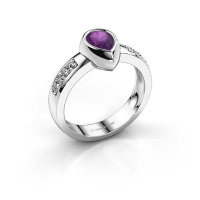 Ring Charlotte Pear 925 silver amethyst 8x5 mm
