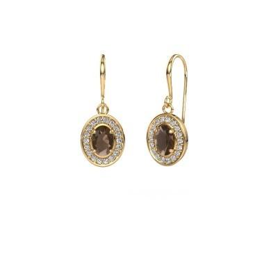 Drop earrings Layne 1 375 gold smokey quartz 6.5x4.5 mm