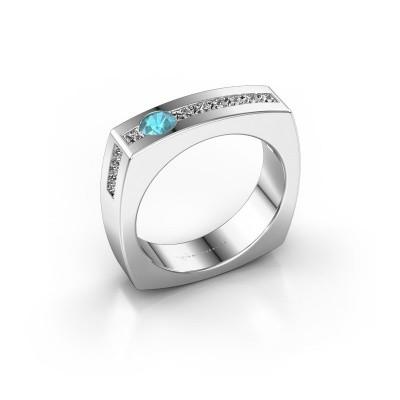 Foto van Mannen ring Arend 925 zilver blauw topaas 3.8 mm