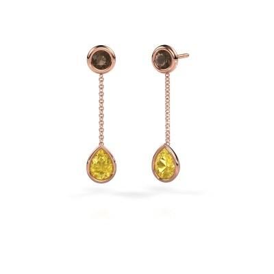 Foto van Oorhangers Ladawn 585 rosé goud gele saffier 7x5 mm
