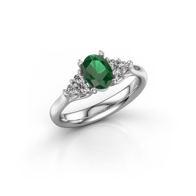 Foto van Verlovingsring Monika OVL 585 witgoud smaragd 7x5 mm
