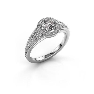Foto van Aanzoeksring Angelita RND 585 witgoud diamant 0.832 crt