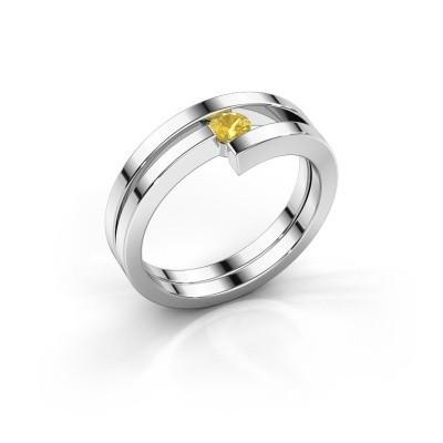 Ring Nikia 950 platina gele saffier 3.4 mm