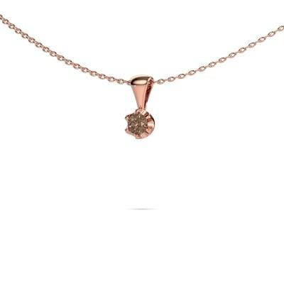 Foto van Ketting Fran 375 rosé goud bruine diamant 0.15 crt