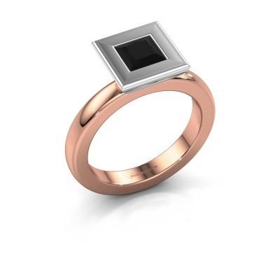 Stapelring Eloise Square 585 rosé goud zwarte diamant 0.936 crt