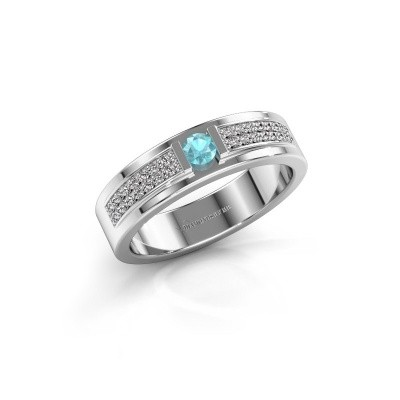 Ring Chanell 585 witgoud blauw topaas 3 mm