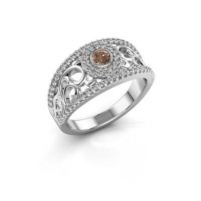 Verlovingsring Lavona 950 platina bruine diamant 0.50 crt