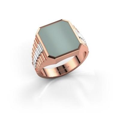 Foto van Rolex stijl ring Brent 3 585 rosé goud groene lagensteen 14x12 mm